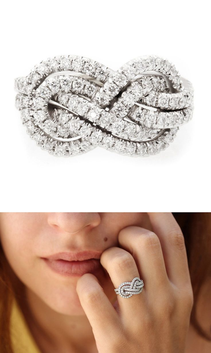 infinity ring engagement infinity diamond wedding band Double infinity knot alternative wedding rings Women in Weddings Weigh in on Engagement Rings