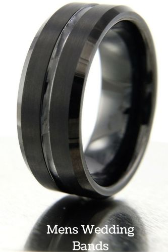 tungsten wedding rings mens firefighter wedding bands 8mm Black Tungsten Wedding Band With Polished Center Channel Satin Top