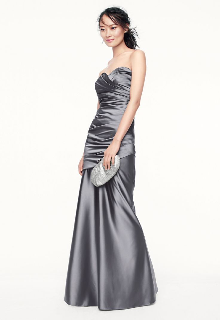 gray wedding davids bridal wedding dresses A structured refined look that exudes pure elegance Bridesmaid Style in Mercury