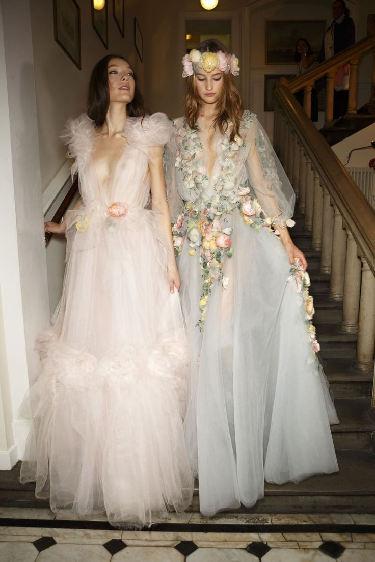 weddings n sht marchesa wedding dress Just because these dresses look as pretty off the runway as they do on it Backstage at Marchesa Spring LANE Wedding Style Inspiration