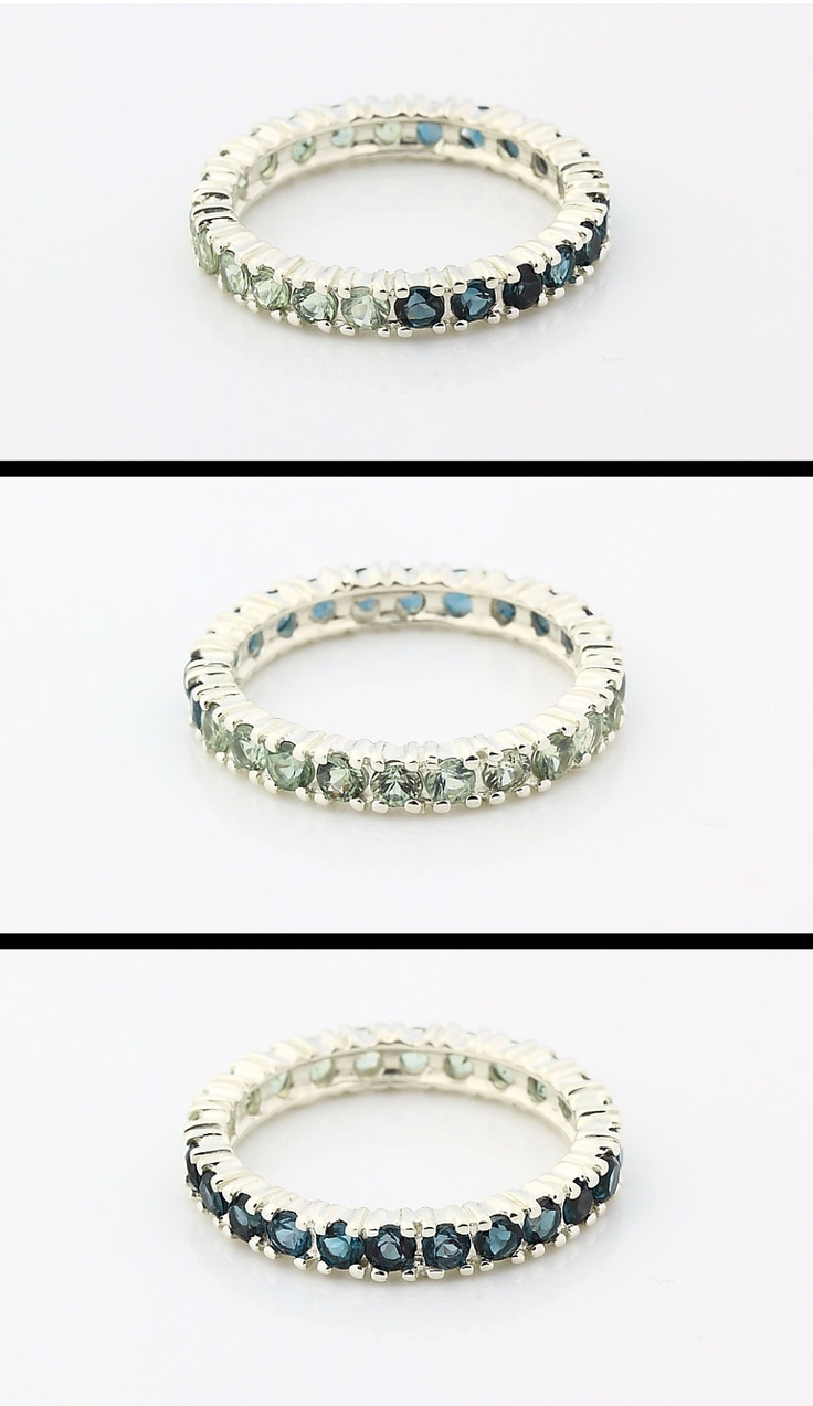 topaz jewelry blue topaz wedding band Natural London Blue Topaz and Green Sapphire ETERNITY BAND IN 14KT white gold Gem