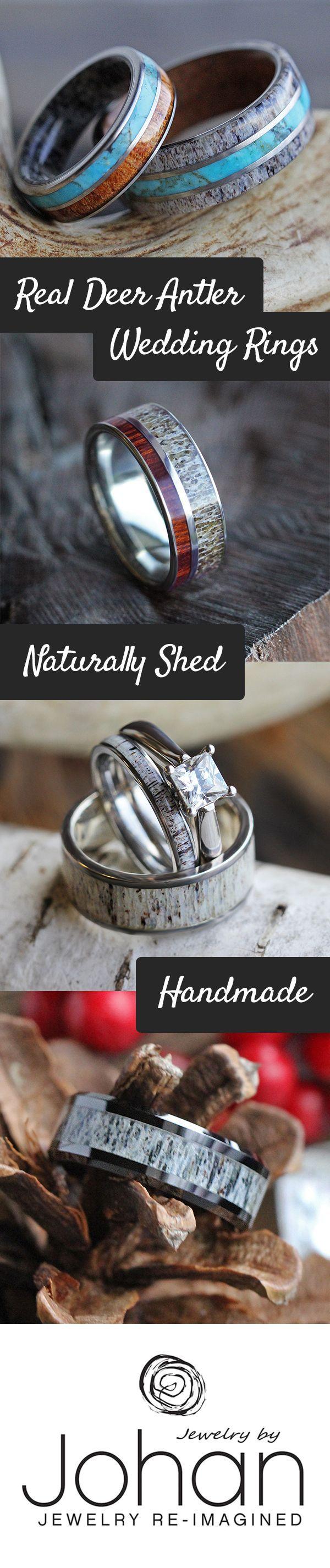 deer antler ring deer wedding bands Natural deer antler wedding rings perfect for outdoor enthusiasts and hunters