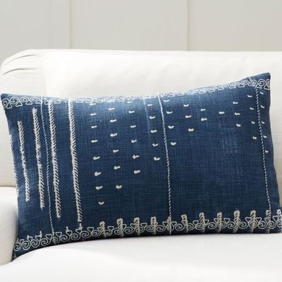 "Shibori Embroidered Lumbar Pillow Cover, 16x26"", Indigo"