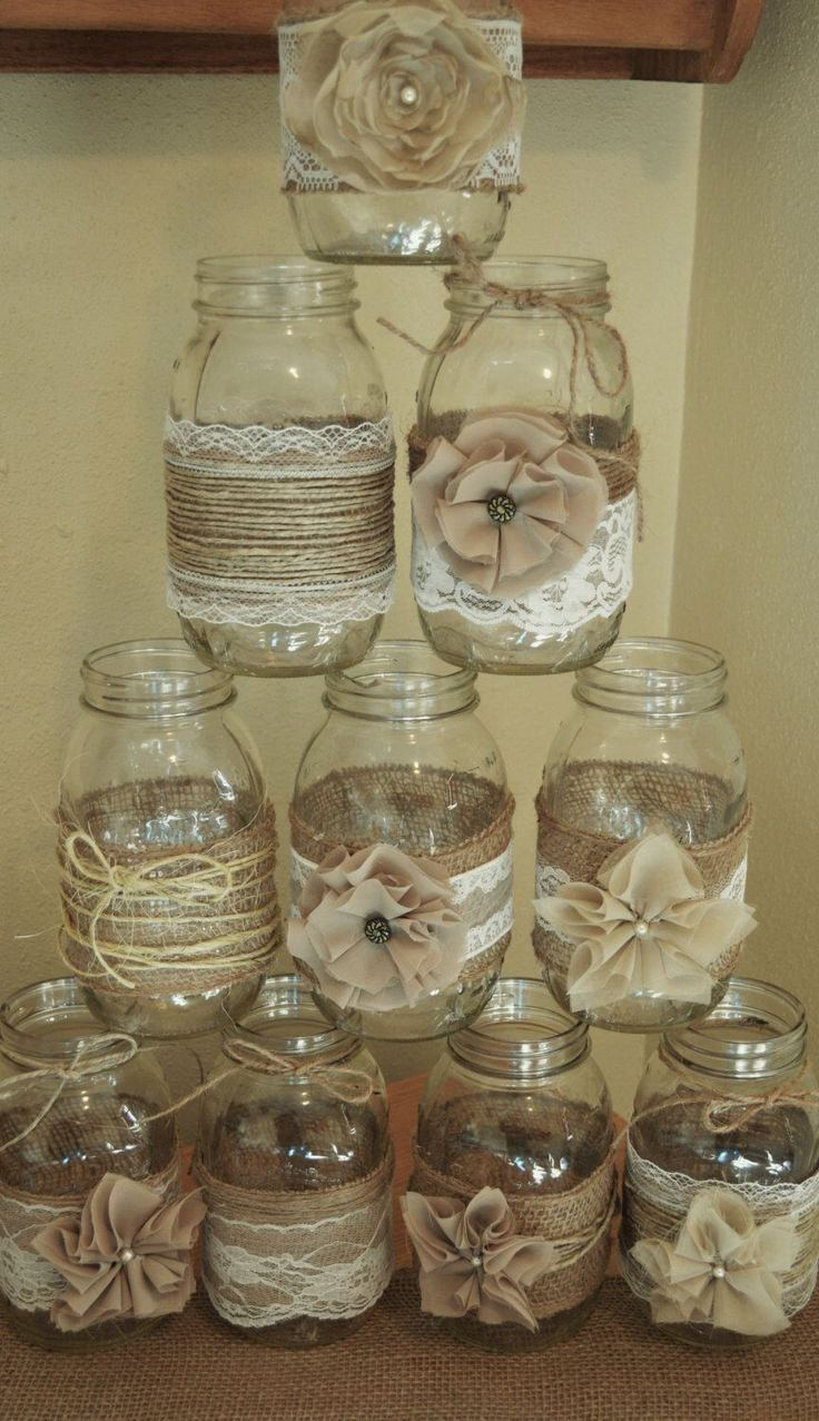 burlap wedding decorations burlap wedding ideas Set of 10 Mason Jar Sleeves Burlap Wedding Decorations Rustic Wedding Centerpieces Burlap