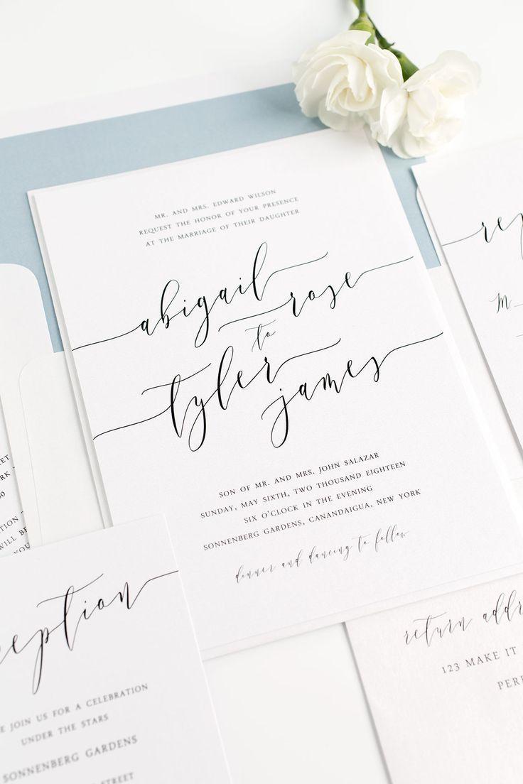 handwritten wedding invitations handwritten wedding invitations Dusty Blue Wedding Invitations with Modern Calligraphy from Shine Wedding Invitations Click through for ordering