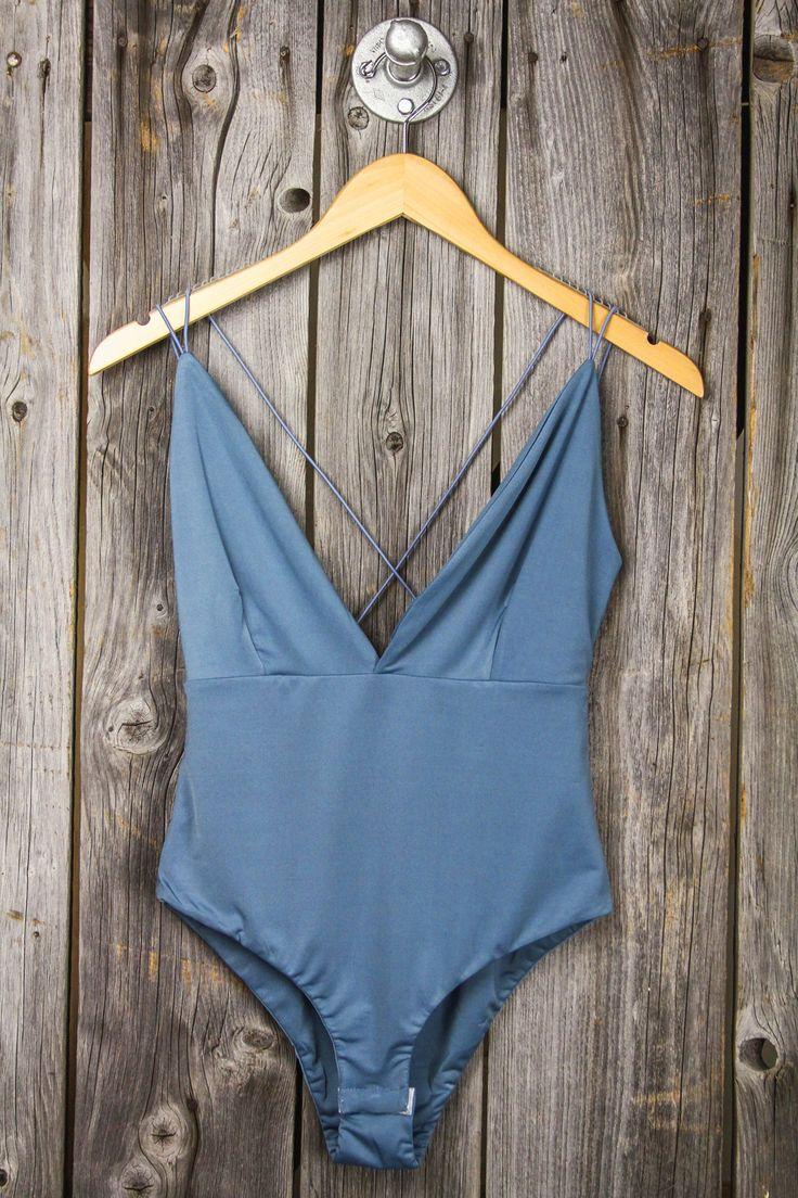 Spaghetti Strap Back Deep V Bodysuit – Dusty Blue