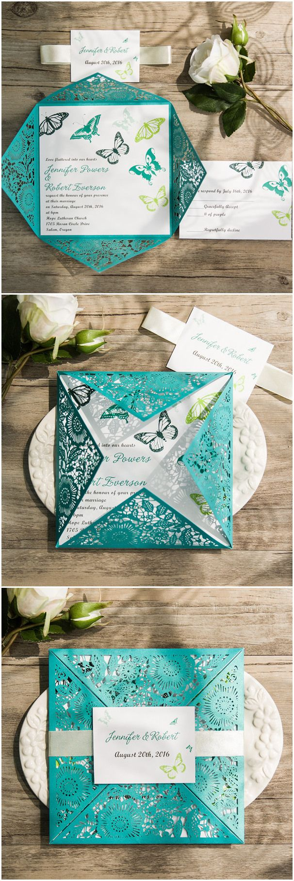 butterfly wedding butterfly wedding invitations shades of blue and green butterfly themed laser cut wedding invitations ewws