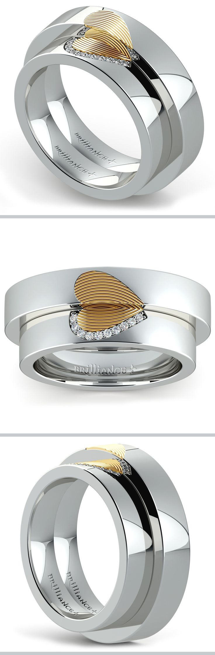 fingerprint wedding bands fingerprint wedding band Matching Heart Fingerprint Inlay Wedding Ring Set in Platinum and Yellow Gold