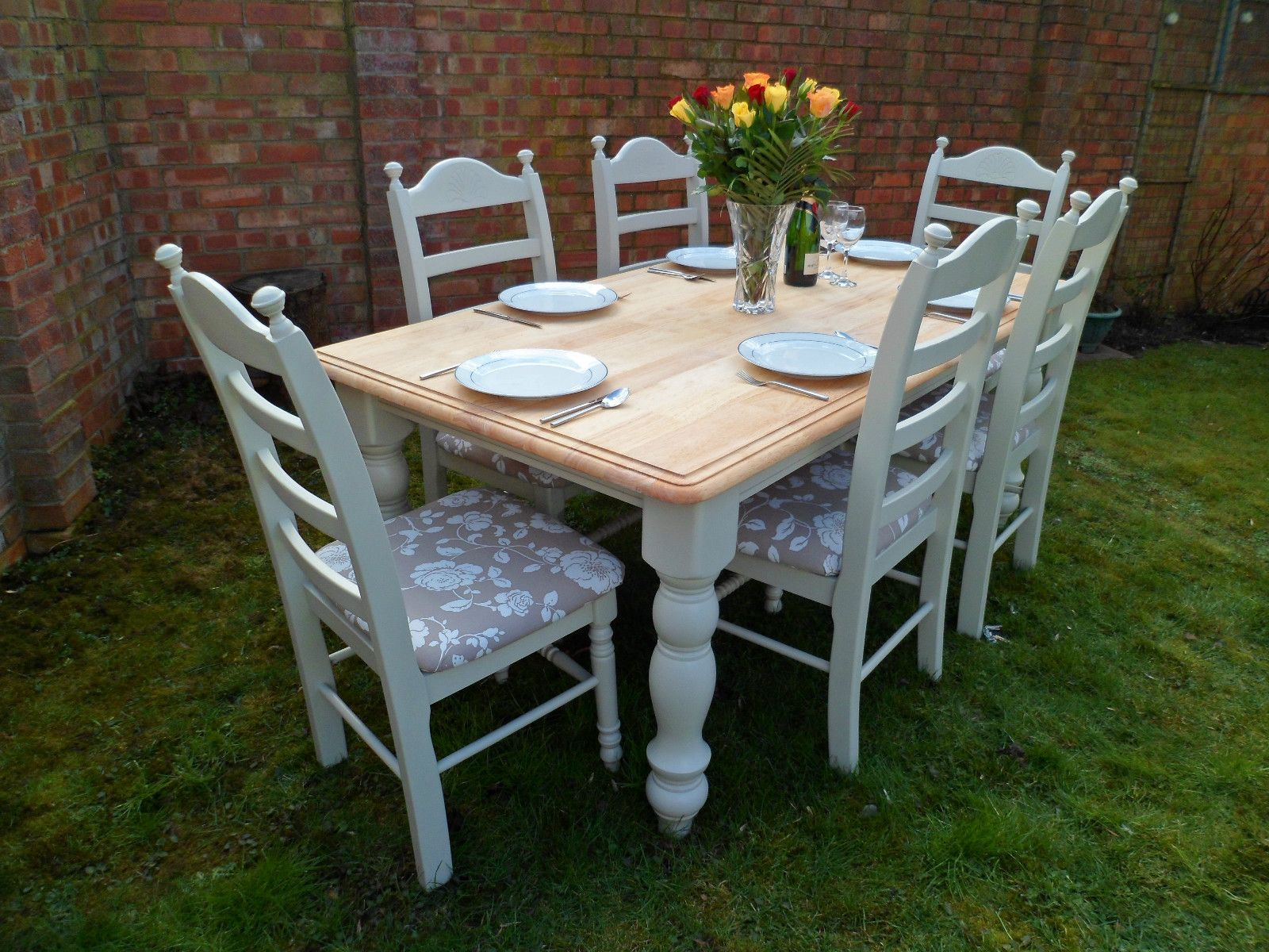 chairs for oak kitchen table chairs for kitchen table Beautiful 6ft Oak Shabby Chic Dining Table And 6 Chairs Painted In Farrow Ball