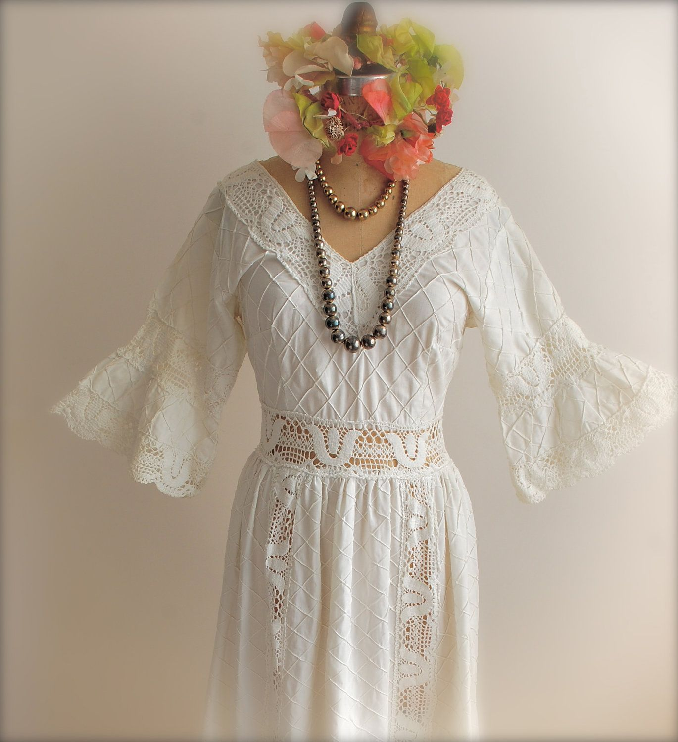 mexican wedding dress Mexican Wedding dress Prom Dress White Lace Bell Sleeves 50s Vintage