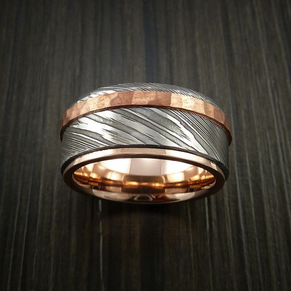 damascus steel wedding bands Damascus Steel 14K Rose Gold Ring Wedding Band with Hammered Copper Inlay