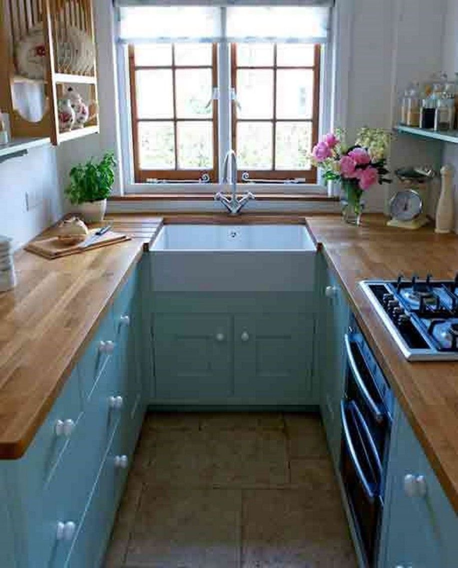 blue cabinets kitchen 47 Best Galley Kitchen Designs