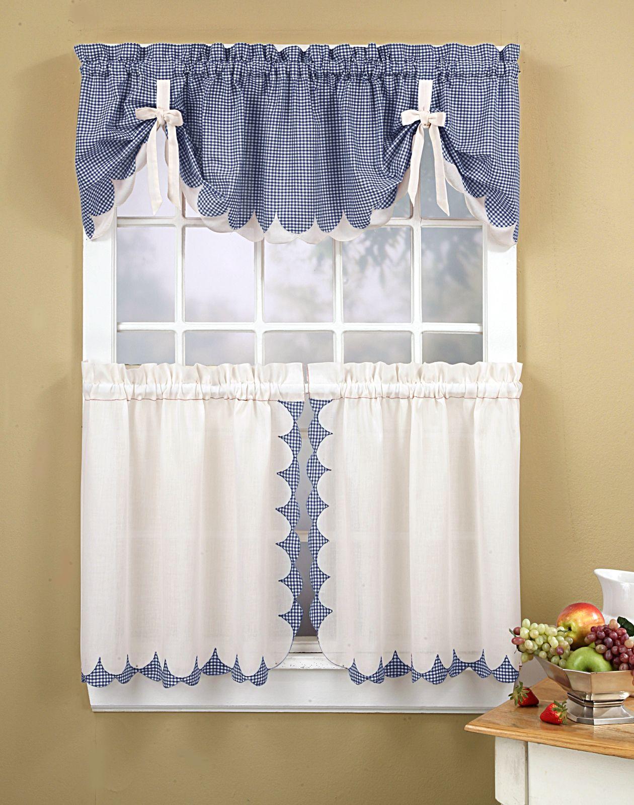 kitchen window treatment ideas Kitchen Curtains Tabitha 3 Piece Kitchen Curtain Tier Set Curtainworks com I