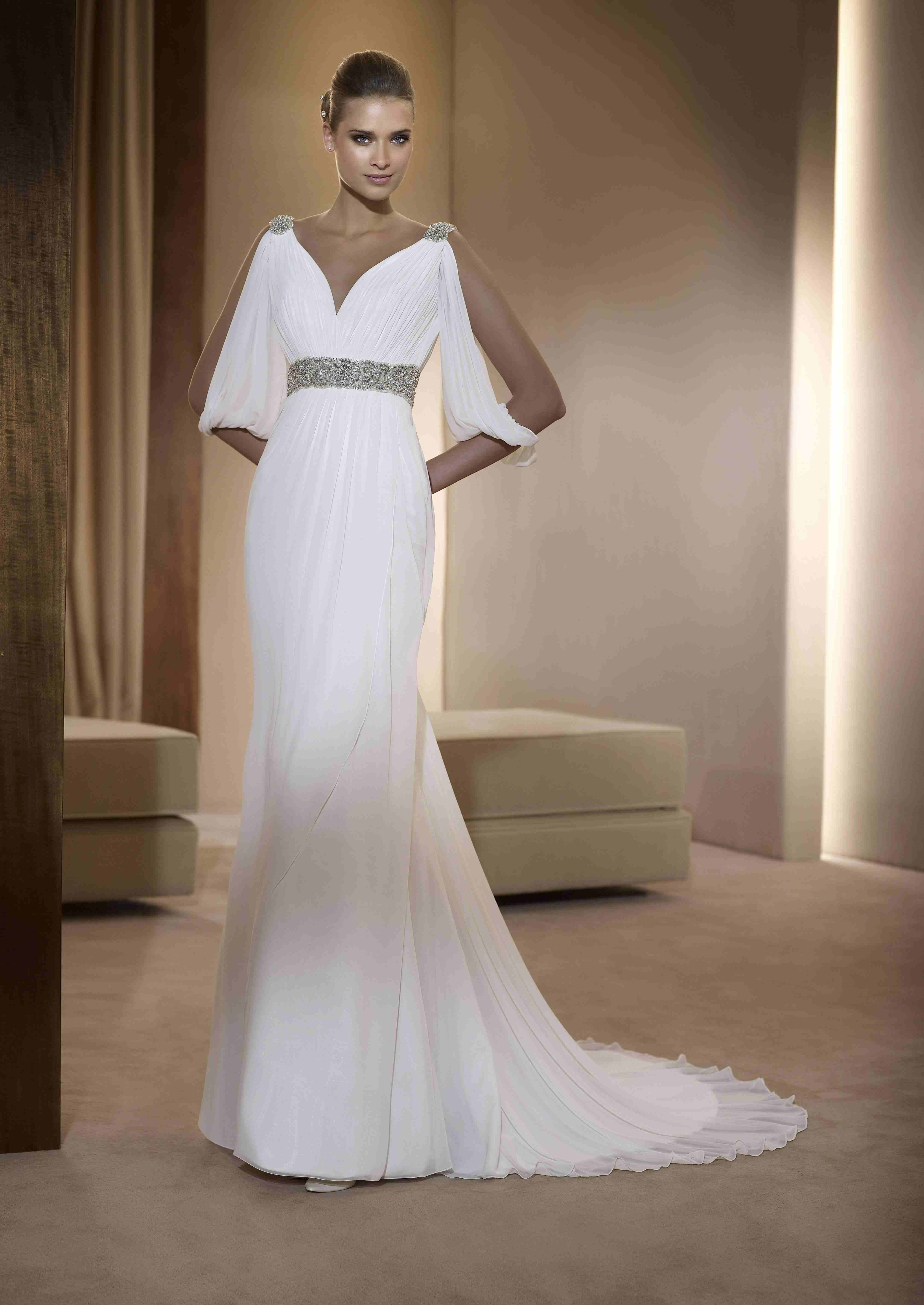 grecian style wedding dress This is the perfect gown for a Star Wars themed wedding gown by Pronovias in a