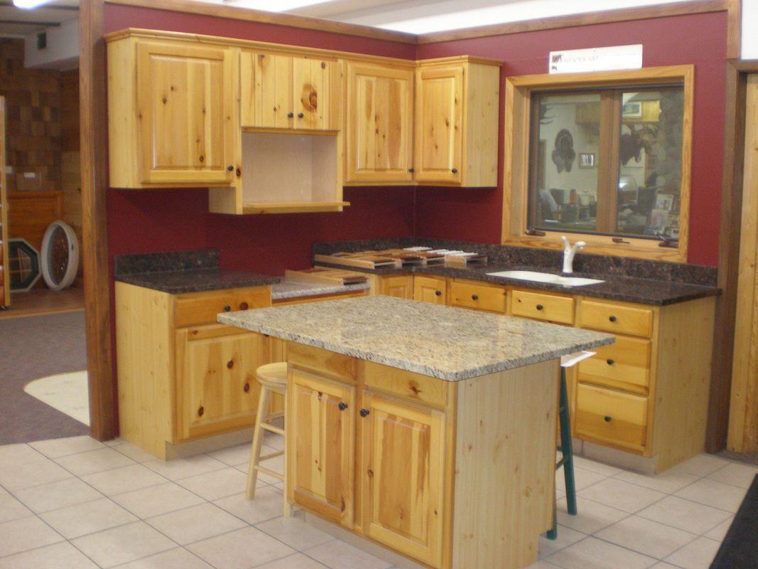 knotty pine kitchen cabinet doors pine cabinets kitchen Knotty Pine Kitchen Cabinets With Small Island Table