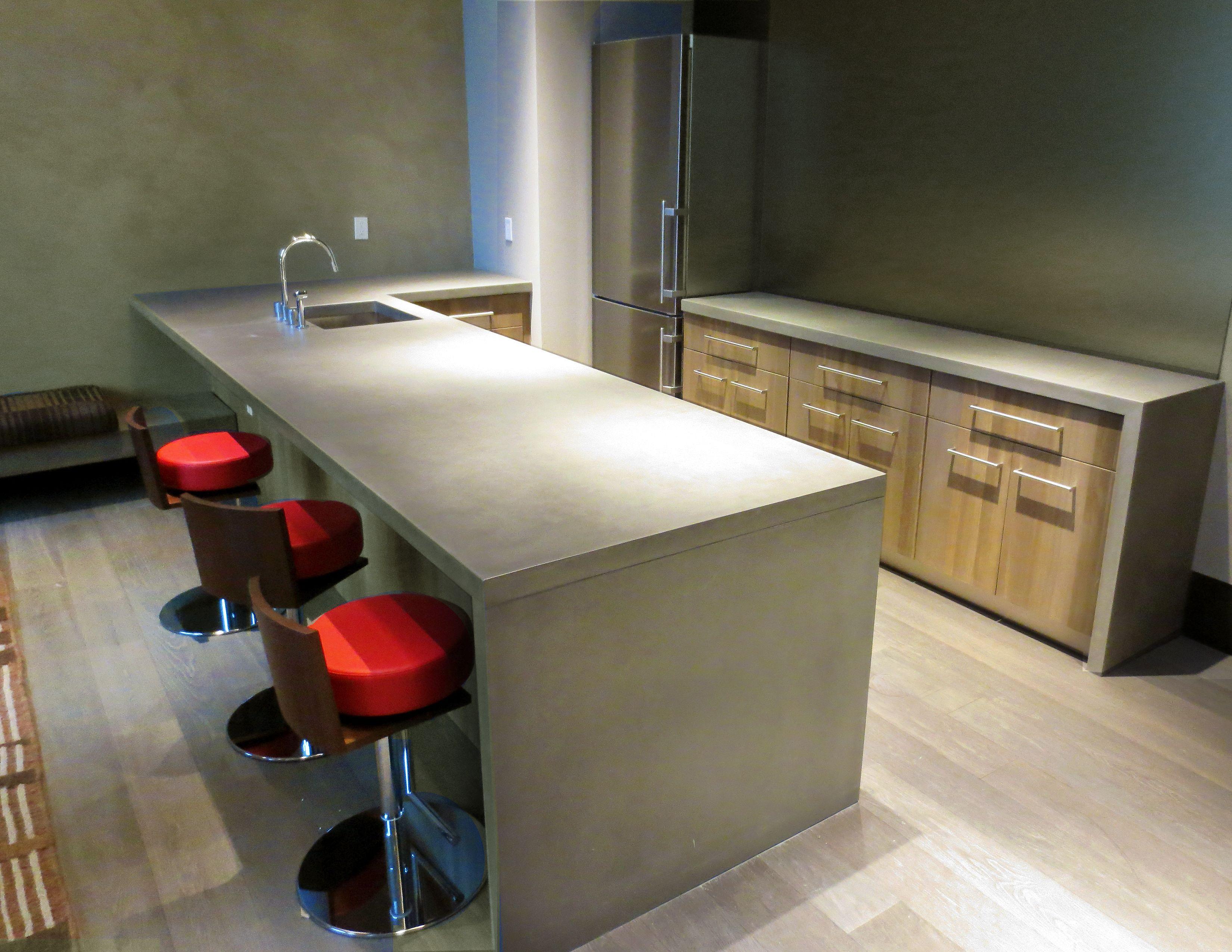 custom concrete kitchen countertops trueform concr concrete kitchen countertops Contemporary Concrete kitchen countertop with a waterfall leg by Trueform Concrete