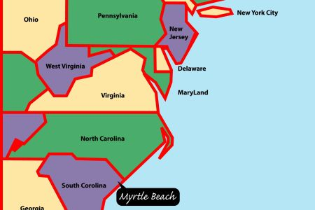 east coast map | myrtle beach is situated on the east, or