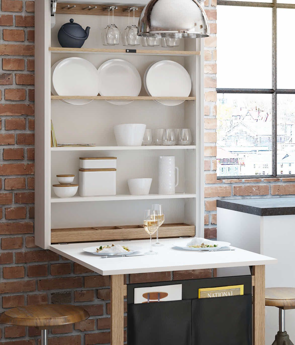 murphy kitchen table Small kitchen Table shelf as a unit