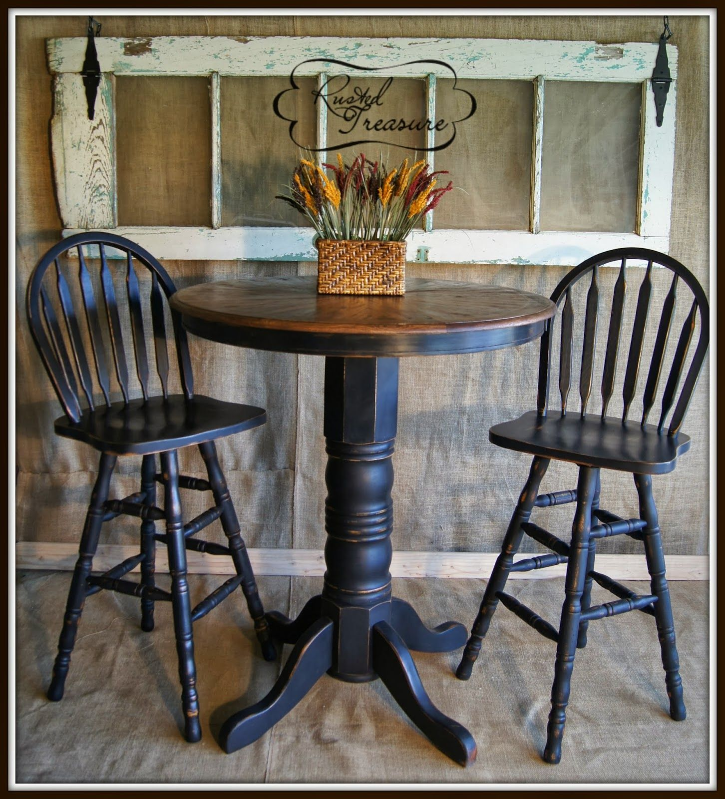 bar top kitchen tables Distressed Bar Top Table and Chairs Before and After