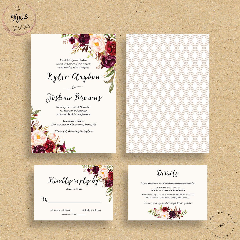 photo wedding invitations Marsala Wedding Invitations Fall Floral Wedding Invites Autumn Winter Wedding Invitations Bohemian Rustic