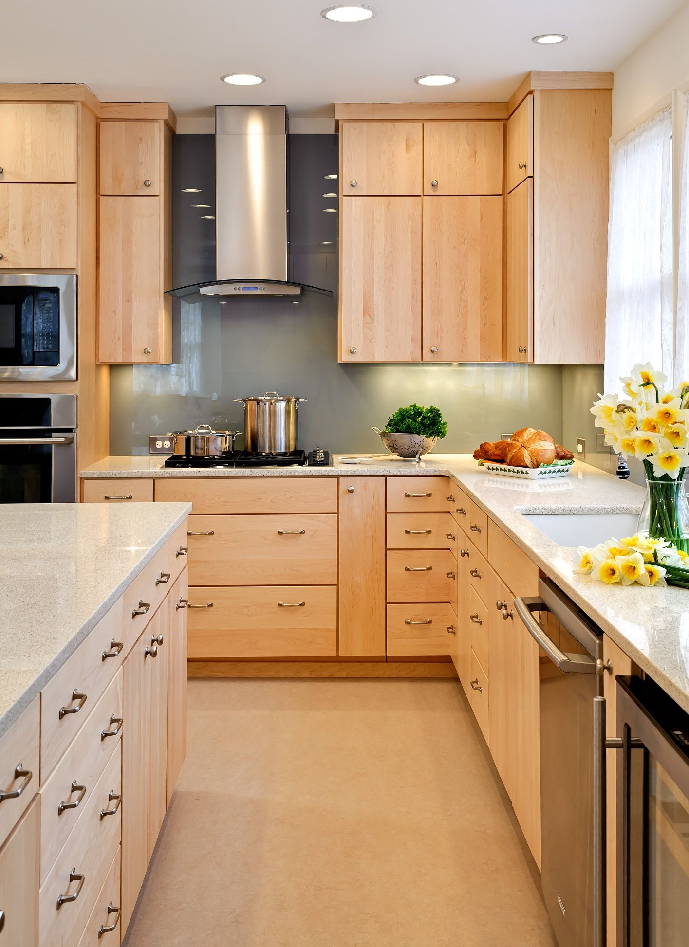 kitchen cabinet countertop Kitchen Kitchen Oak Kitchen Cabinet Stainless Steel Wall Mounted Cabinet Gas Cooktop White Ceramic Countertop White Curtain White Kitchen Color Paint Beige