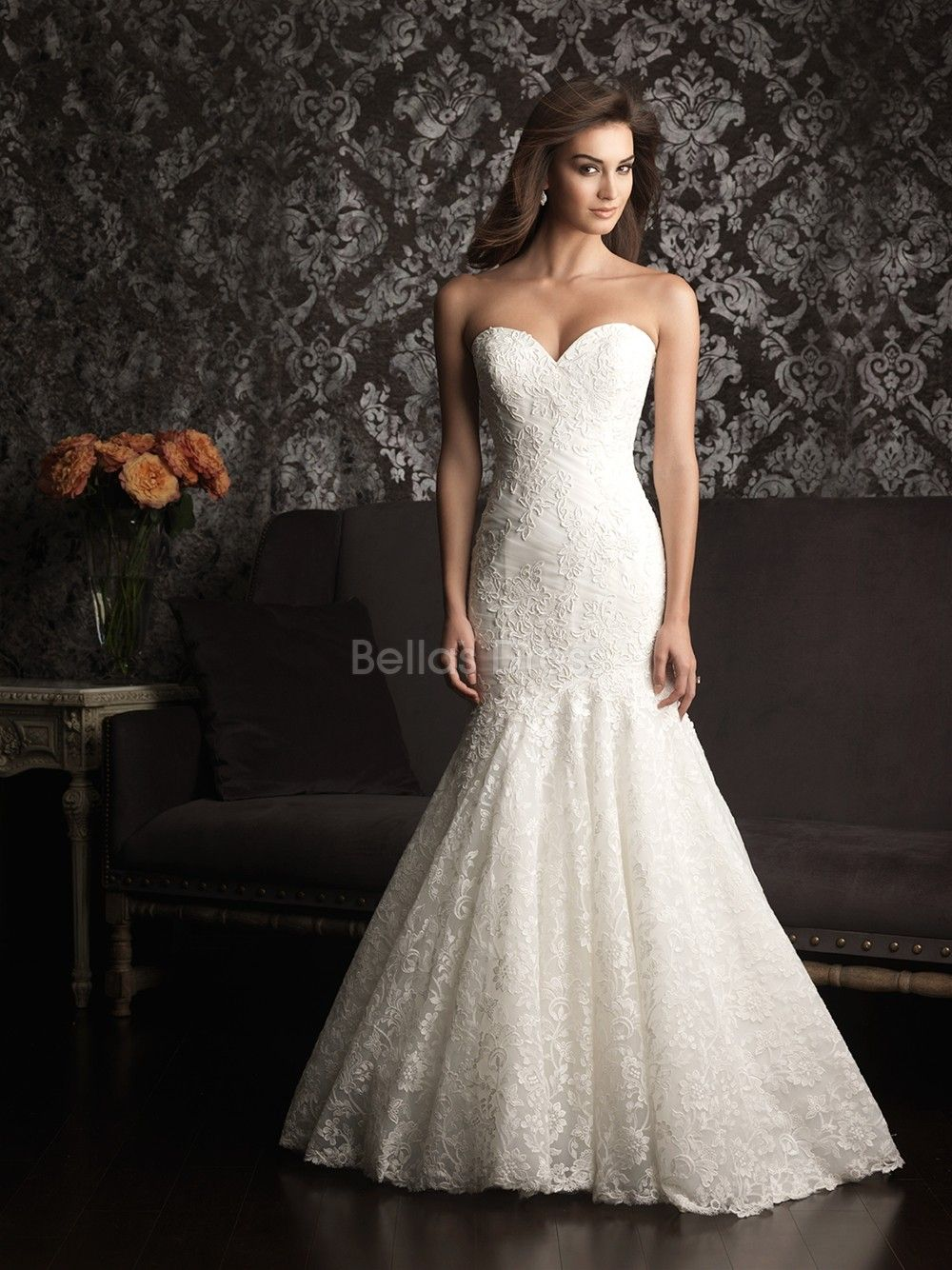 strapless mermaid wedding dresses Luxurious Mermaid Lace Court Train Sweetheart Wedding Dresses With Buttons