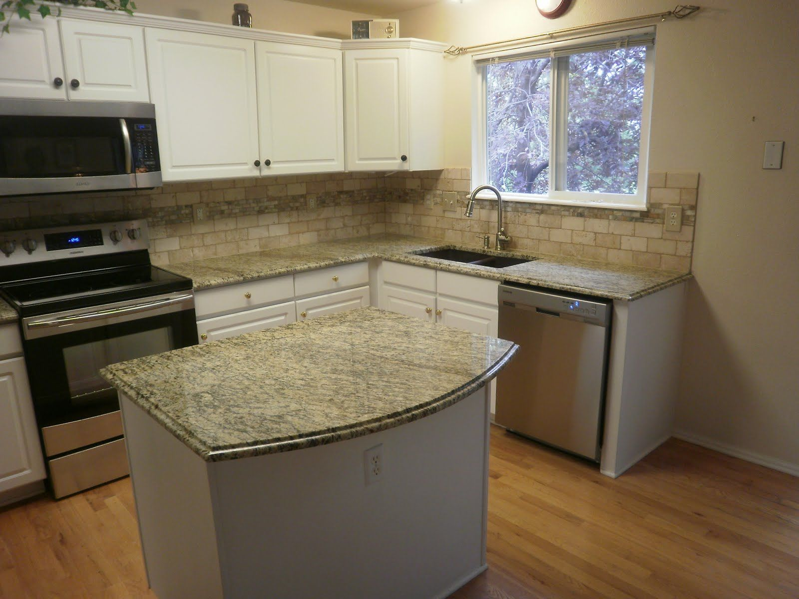 kitchen kitchen counters and backsplash Santa Cecilia granite countertops and travertine onyx backsplash