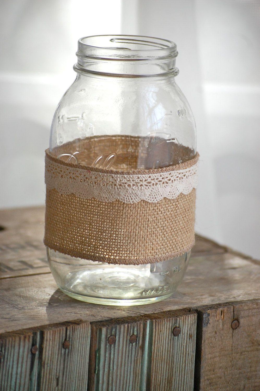 burlap wedding ideas Burlap and lace mason jar rustic wedding decor