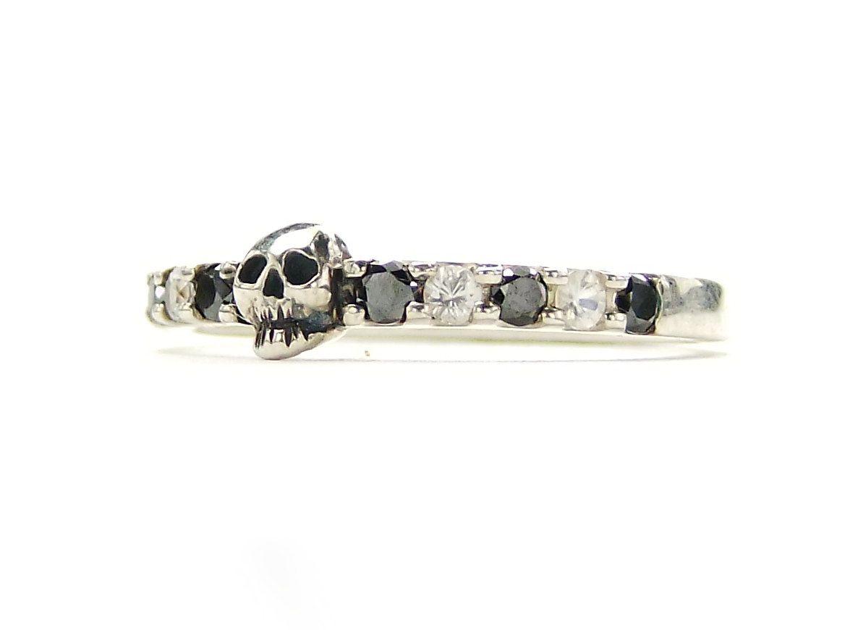 skull wedding rings Tiny Skull Wedding Band Black Diamond Sterling Engagement Ring Goth Psychobilly Wedding Band Wedding Set Jewel