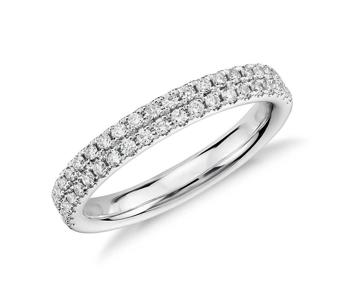 pave diamond wedding band Rialto Pav Diamond Ring in 14k White Gold 1 3 ct tw