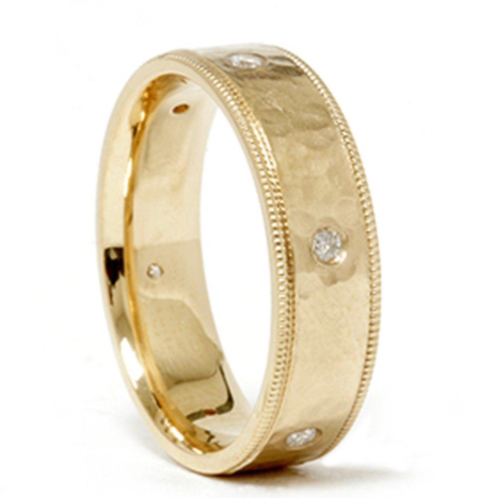 wedding rings under Mens 14K Gold Diamond Hammered Wedding Ring Band New Lifetime Warranty Gift Box Included