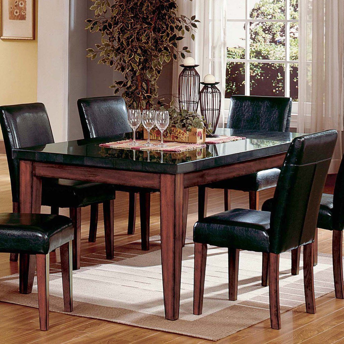 granite kitchen table Steve Silver Montibello Granite Top Rectangular Table Dining Tables at Hayneedle