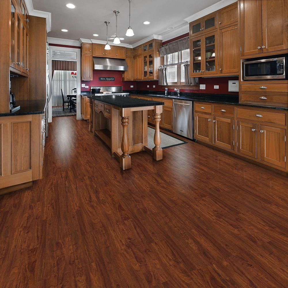 home depot kitchen flooring Cherry Luxury Vinyl Plank Flooring 24 sq ft Case