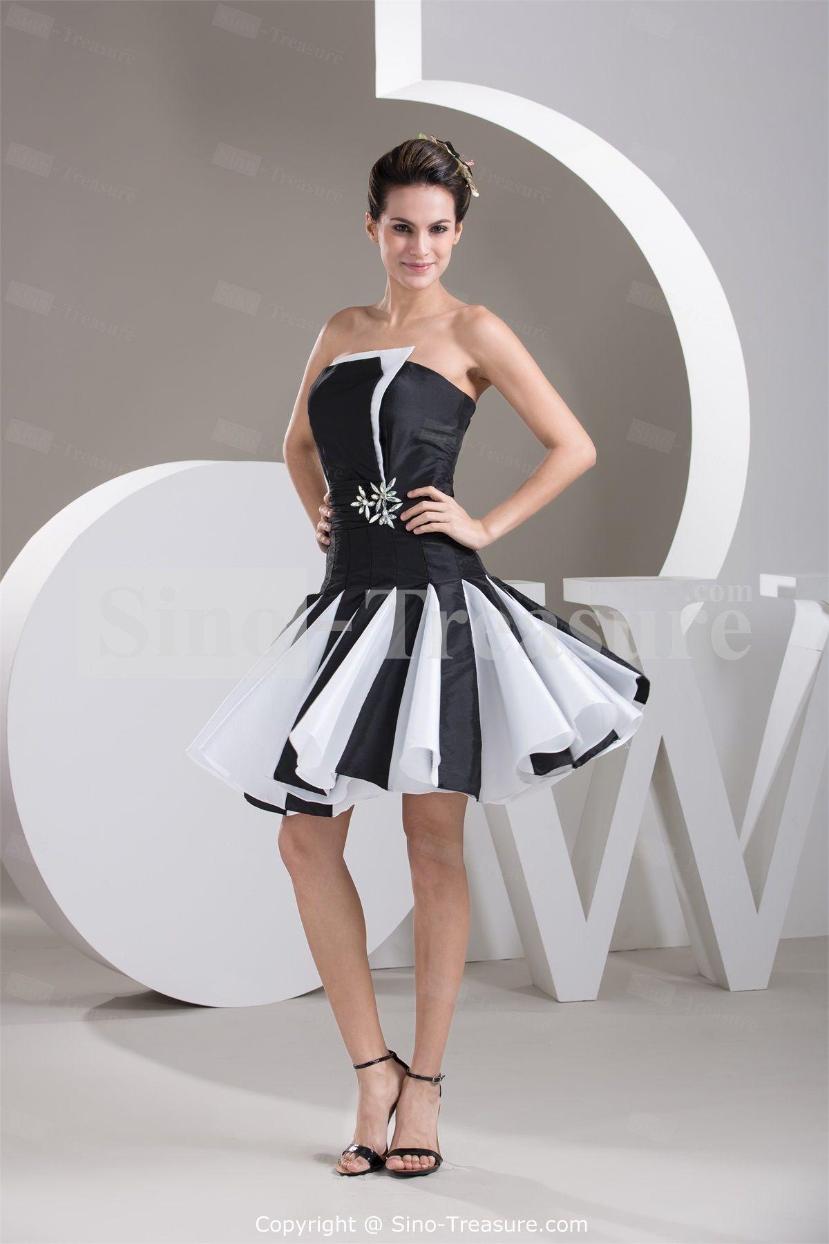 short black wedding dresses Black White Strapless A line Short Taffeta Cocktail Dress Homecoming Dress