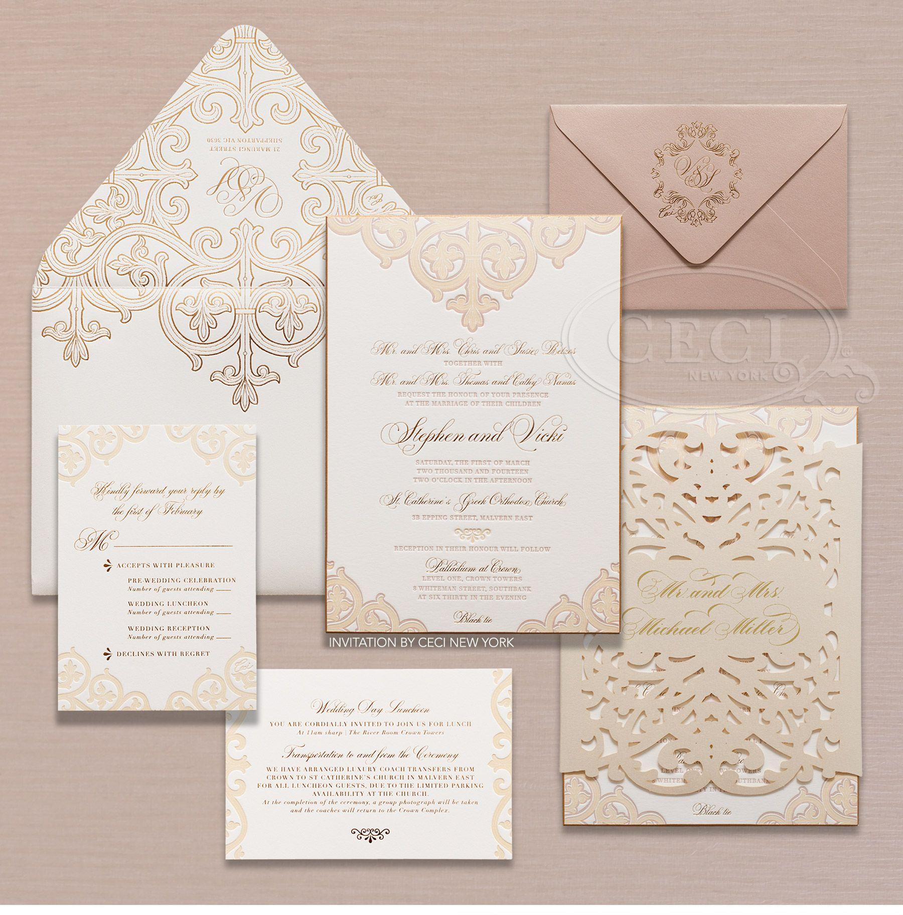blush wedding invitations Luxury Wedding Invitations by Ceci New York Our Muse Fashion Inspired Wedding in