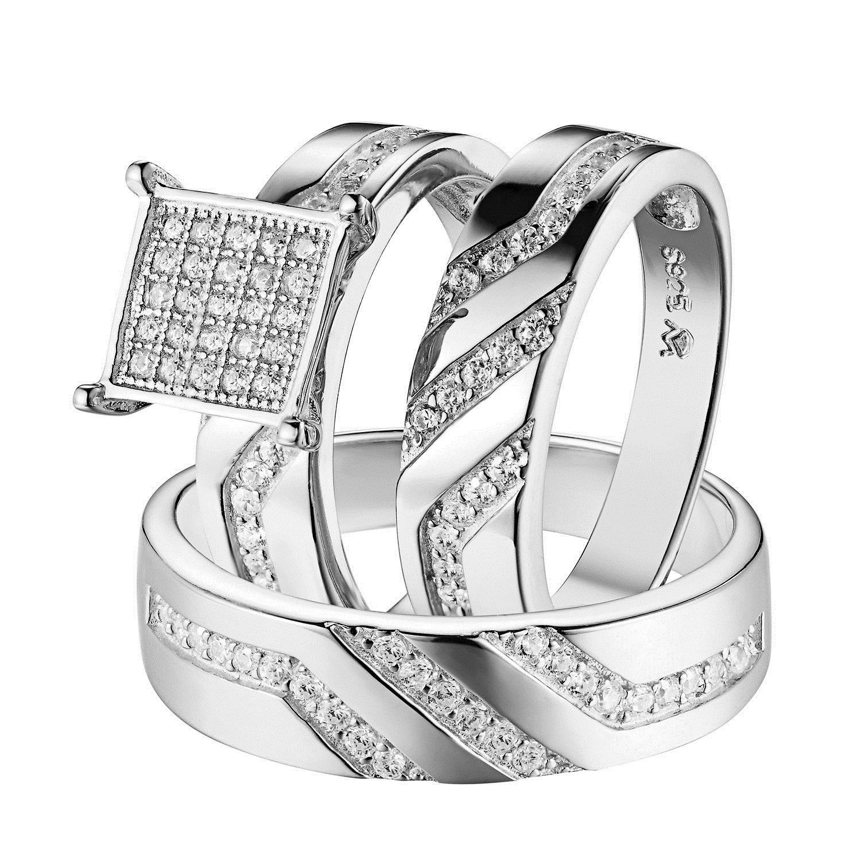 ebay wedding ring sets Rings Trio Wedding Engagement Ring Set For Men Women Sterling Silver Rhodium Tone