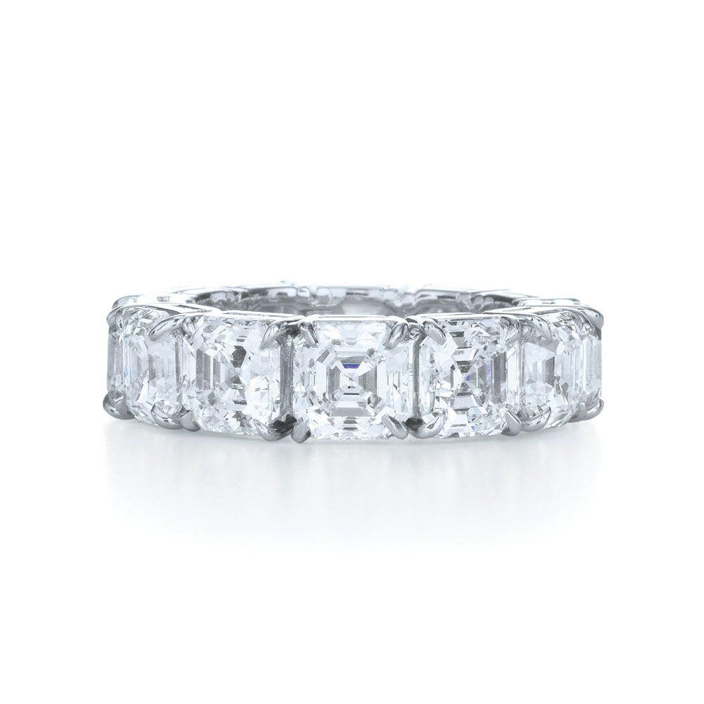 infinity diamond wedding band Asscher Cut Diamond Wedding Ring Asscher cut eternity band in a