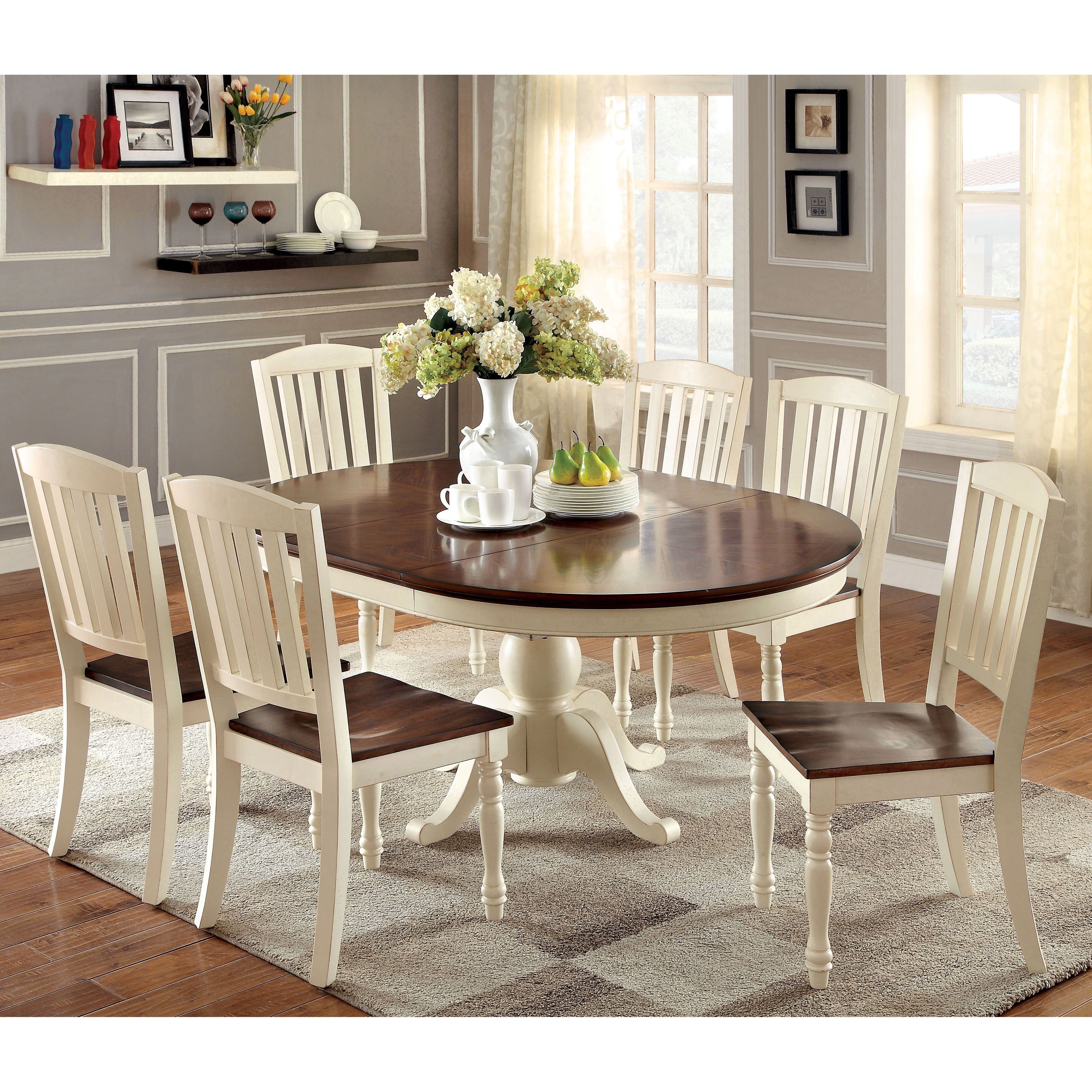 two tone kitchen table Furniture of America Bethannie Cottage Style 2 Tone Oval Dining Table by Furniture of America