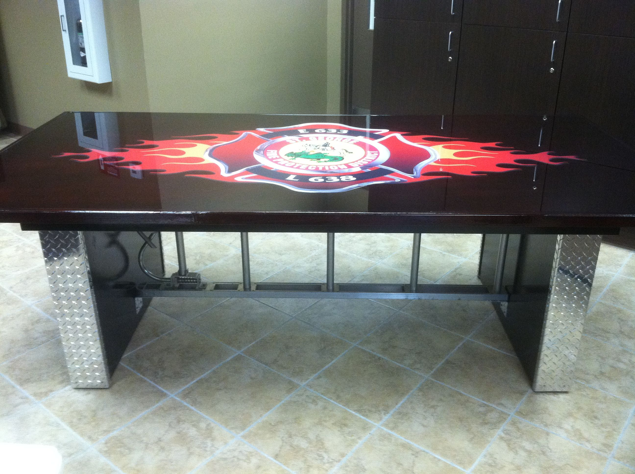 firehouse tables custom kitchen tables Custom table made for the firehouse Roof ladder underneath with diamond plate caps on the