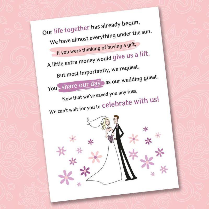 Fantastisch Wedding Poems Asking For Money Instead Of Gifts Ideen ...