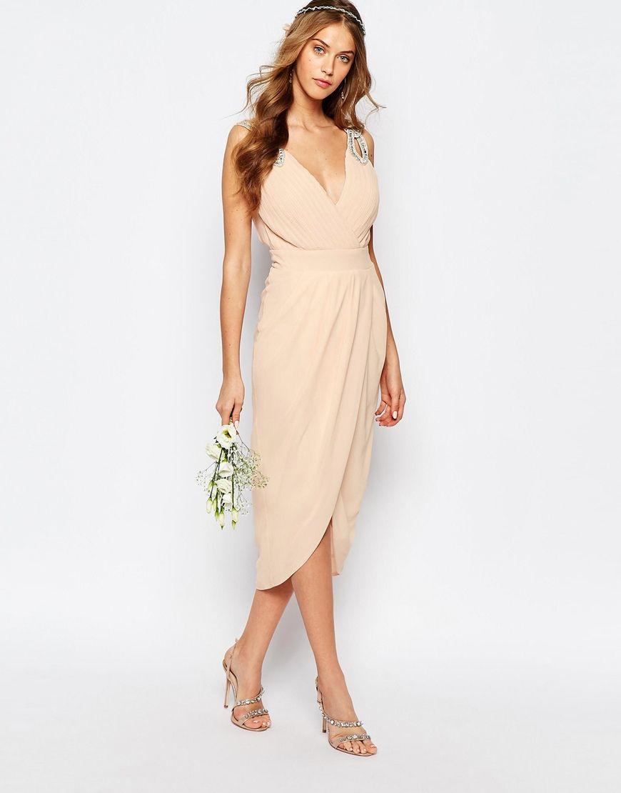 midi wedding dress Image 4 of TFNC WEDDING Wrap Embellished Midi Dress