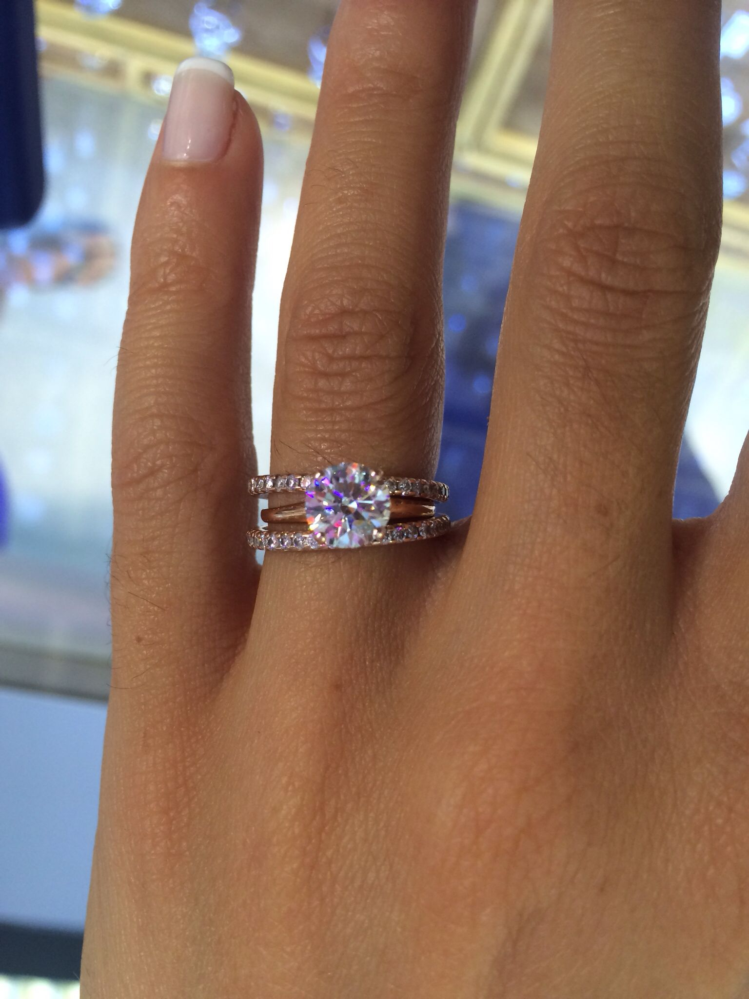 diamond wedding ring sets 1 21 ct E VVS2 diamond engagement ring set in rose gold with two