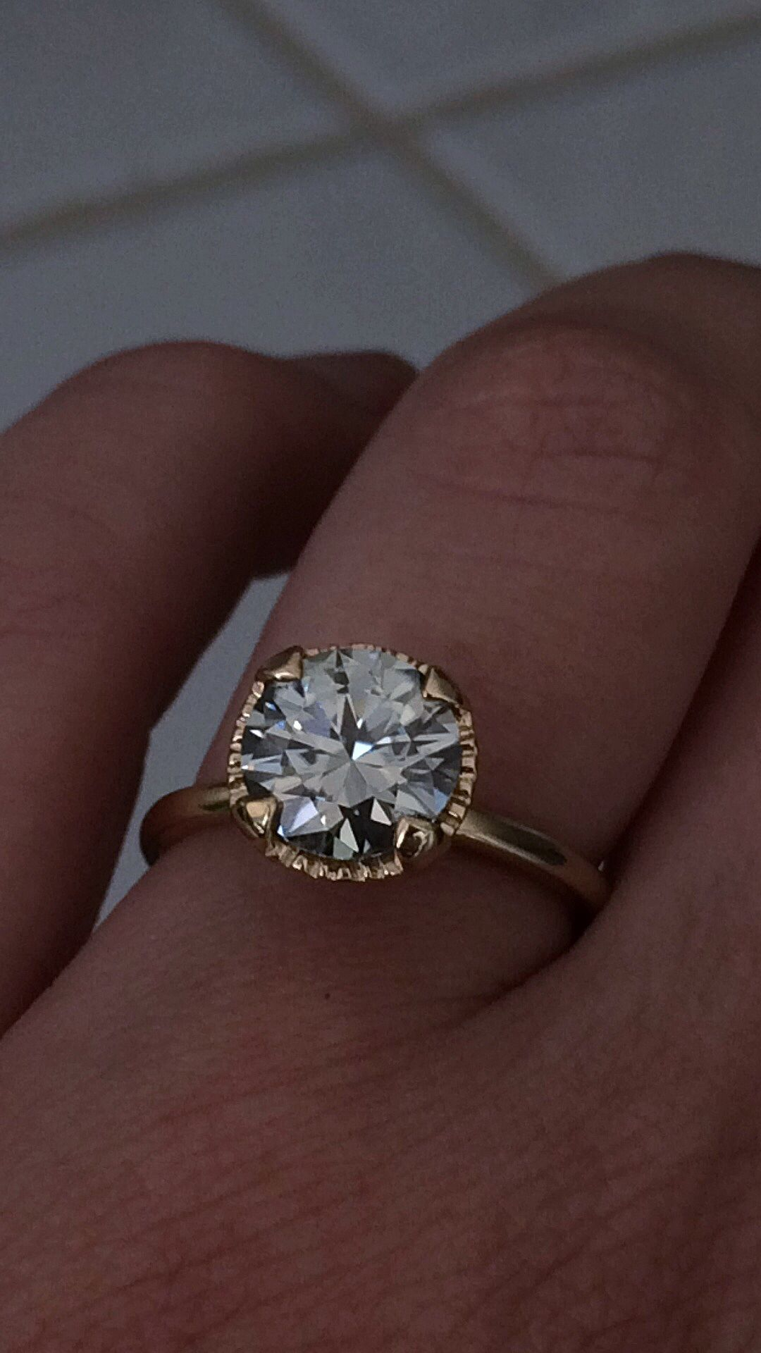 ebay wedding ring sets EBay moissanite set and obsessed Weddingbee Grey moissanite in yellow gold MoissaniteWedding BandsWedding