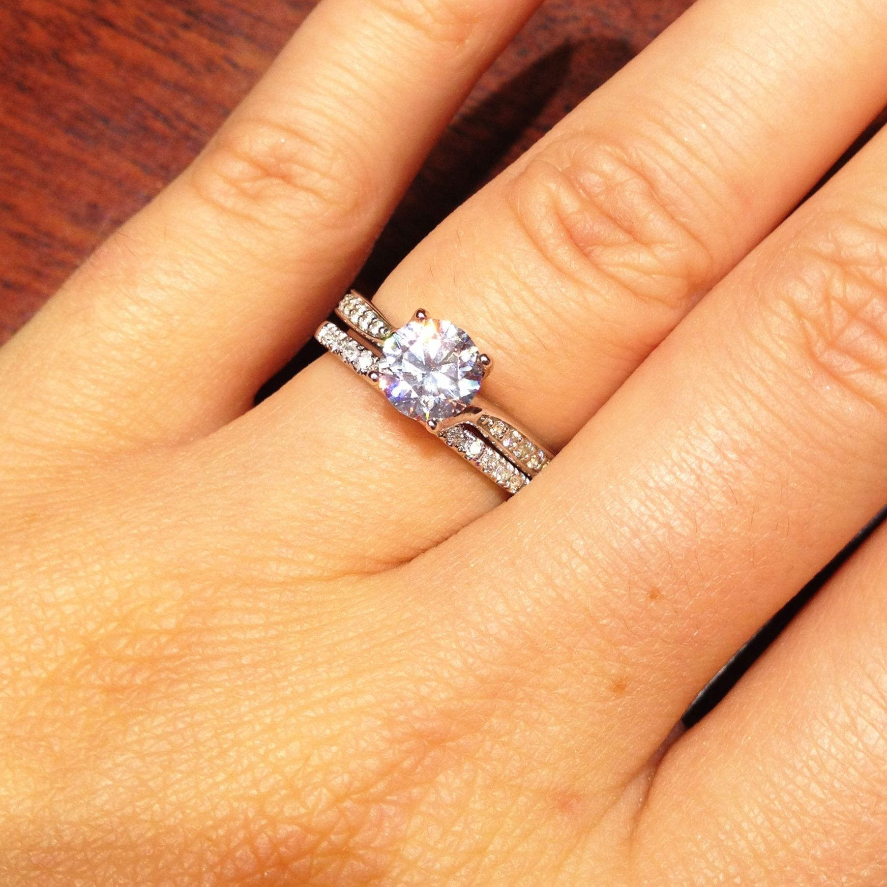 engagement ring wedding band wedding ring with band Tiffany solitaire with channelset band engagementring