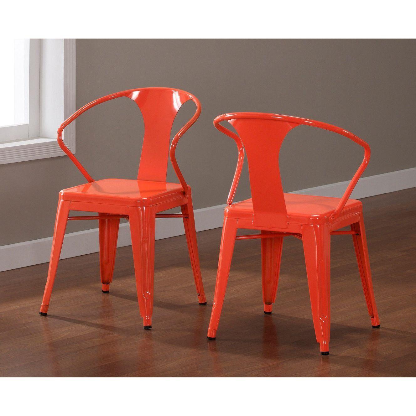 amazon kitchen chairs Amazon com Set of 4 Orange Metal Chairs in Glossy Powder Coated Finish Steel