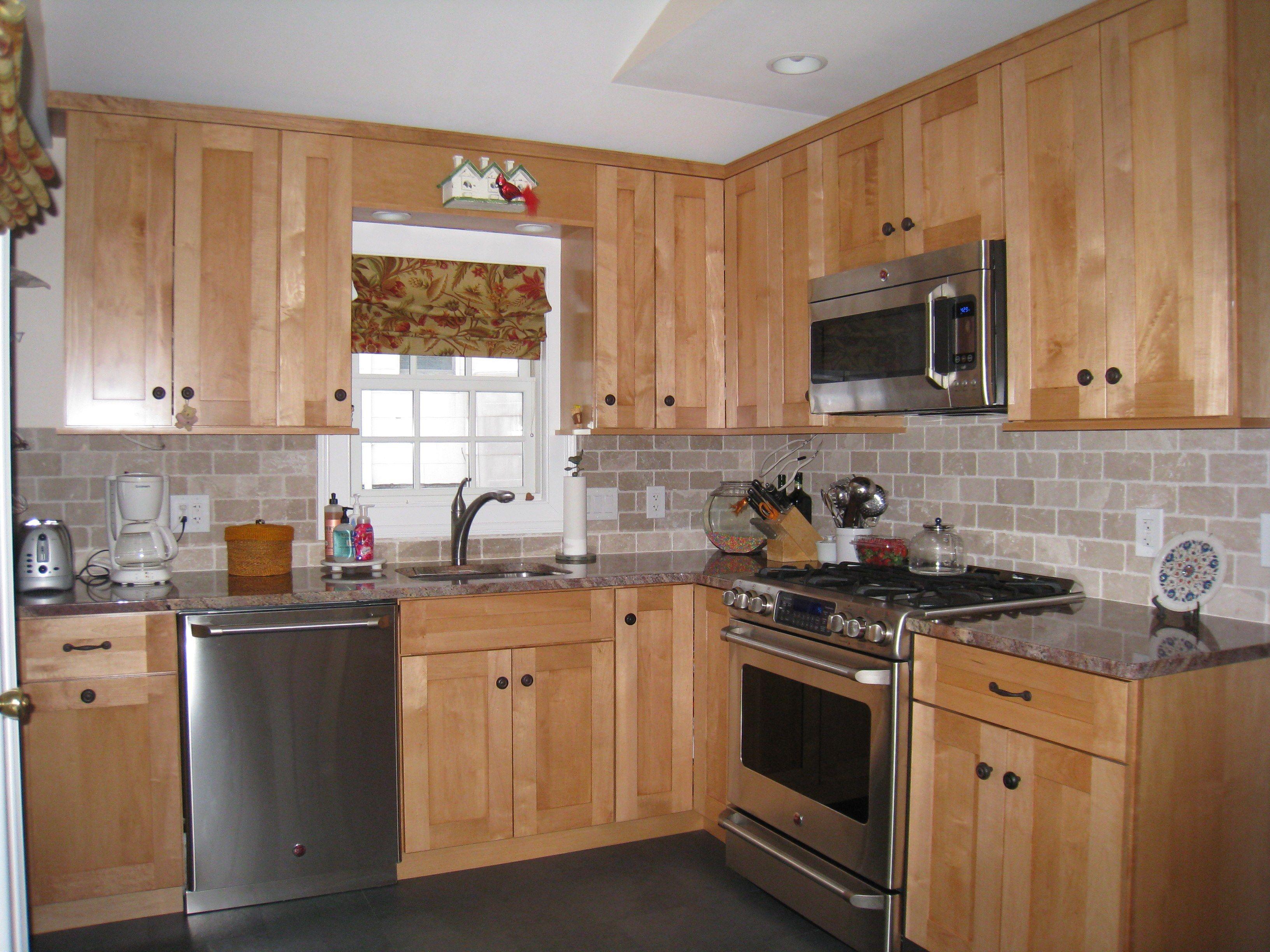 stone backsplash kitchen Kitchen Sophisticated Gray Granite Glass Subway Tile Backsplash With Unfinished Oak Kitchen Cabinet Set L Shaped Models As Decorate Rustic Kitchen