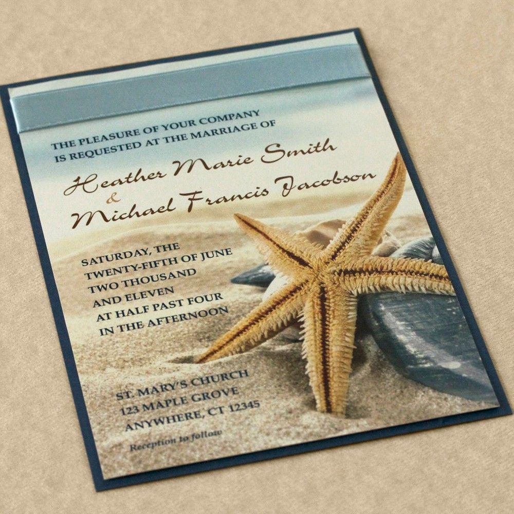 beach wedding invitations Starfish on the Beach Wedding Invitation by willowglenstationery 80 00