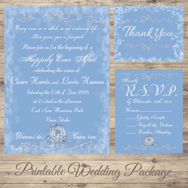 cinderella wedding invitations Cinderella Wedding Invitation Kit fairytale Wedding Invitations Cinderella Save the Date dreams do