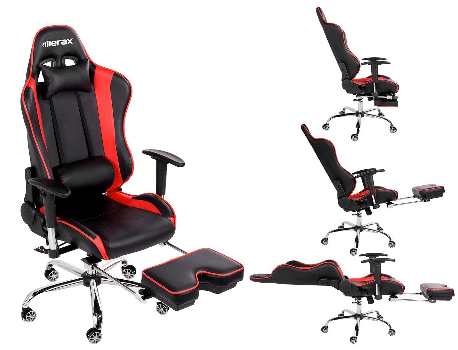 amazon kitchen chairs Amazon com Merax Ergonomic Series Pu Leather Office Chair Racing Chair with Footrest Computer