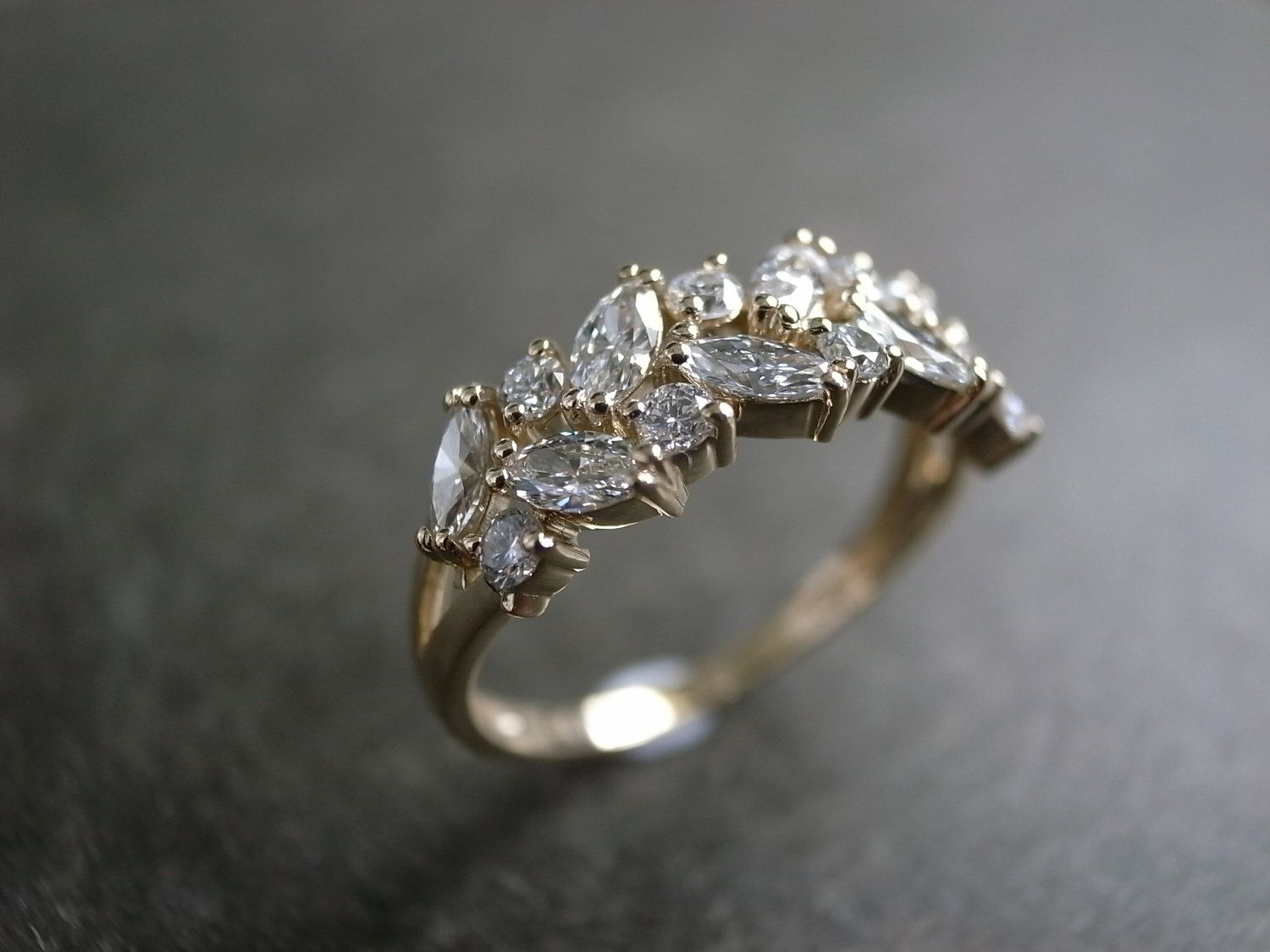 marquise wedding rings marquee wedding ring Marquise Diamond Wedding Ring via Etsy Flat engagement ring ring won t spin